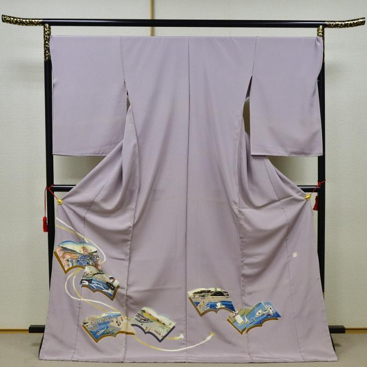横浜の浮世絵を描いた訪問着